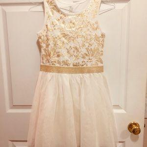 Cream & Gold Holiday Dress XL 14